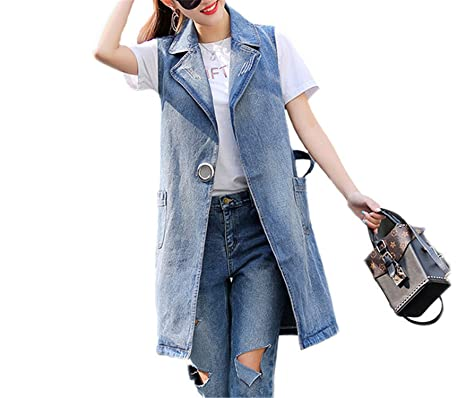 Kateirmaso Bust (100-130Cm) S-3Xl Plus Size Summer Jacket Sleeveless Cardigan Ladies Jeans Waistcoats Long Denim Vest Women Blue XXL at Amazon Womens Coats ...