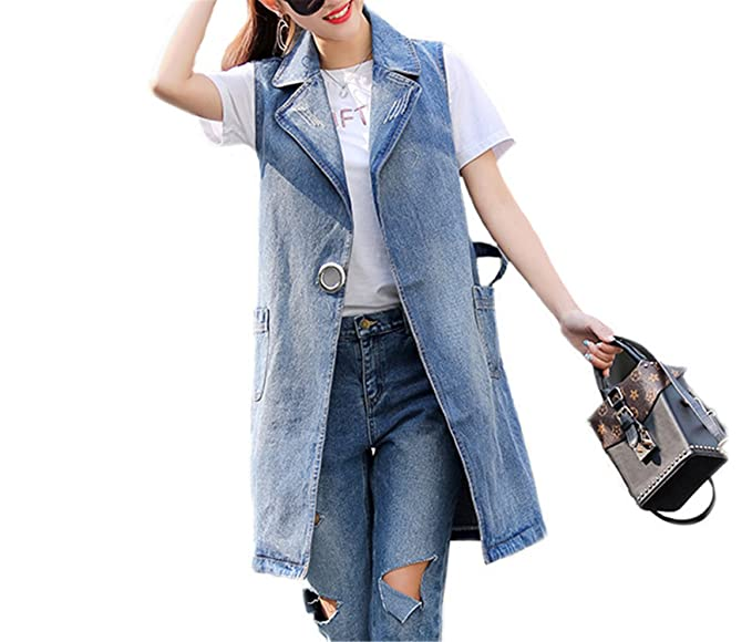 Bust (100-130Cm) S-3Xl Plus Size Summer Jacket Sleeveless Cardigan Ladies Jeans Waistcoats Long Denim Vest Women Blue XL at Amazon Womens Coats Shop