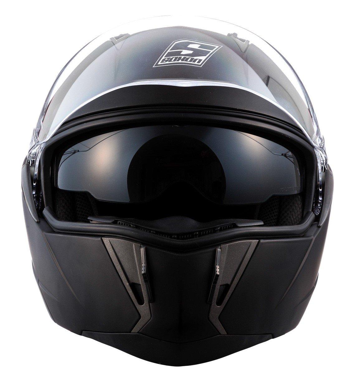 SOXON SF-99 Matt Black /· Scooter Casque Modular Urban Cruiser Moto Integral Helmet Mofa Flip-Up /· ECE certifi/és /· deux visi/ères inclus /· y compris le sac de casque /· Noir /· XS 53-54cm