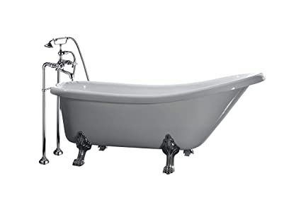 Ove Decors Clawfoot 66 Inch Freestanding Acrylic Bathtub With Freestanding  Faucet, Glossy White