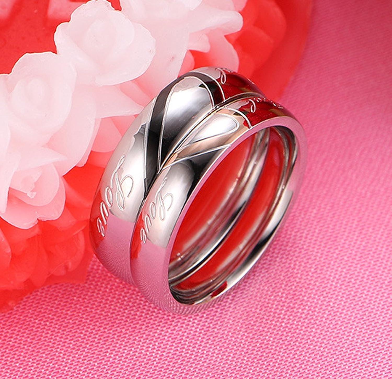 Amazon.com: Nanafast Heart-shaped Lover Couple Matching Rings ...