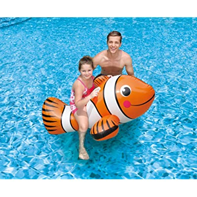 "Blue Wave Clown Fish Inflatable Ride-On Pool Toy, 67"": Toys & Games"