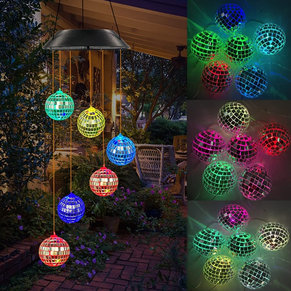 Kwaiffeo Color Changing Solar Lights Outdoor, Wind Chime, Solar Mosaic Ball Wind Mobile LED Lights, Solar Lights for Patio Yard Garden Home Decoration, Ideal Gifts for Mom Grandma Birthday Xmas