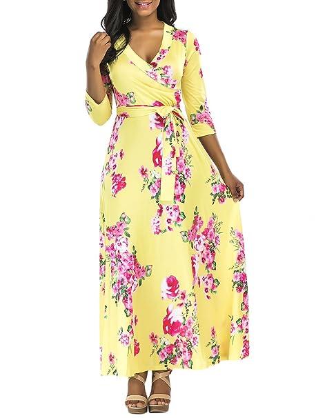 Vestidos Playa Mujer Verano Elegantes Vintage Estampado Flores Maxi Vestidos Largos Casual Fiesta Dresses Señoras V
