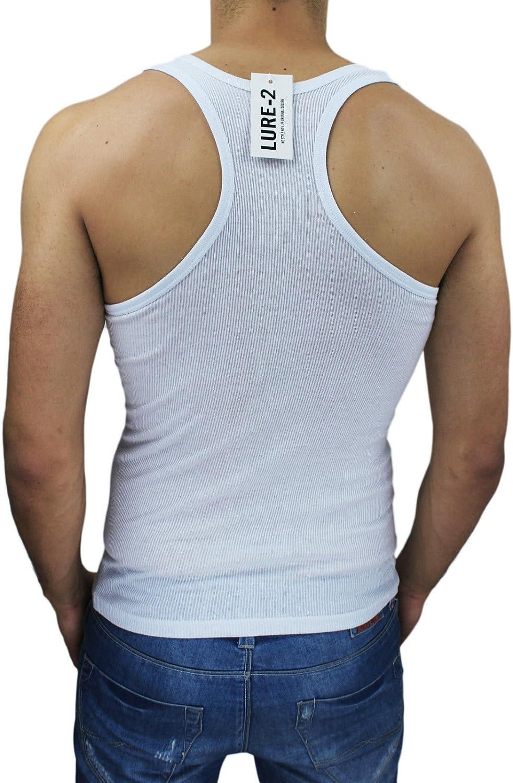 AK collezioni Canotta T-Shirt Uomo a Costine Bianca Canottiera Palestra Sportiva Elasticizzata Slim Fit Super Aderente