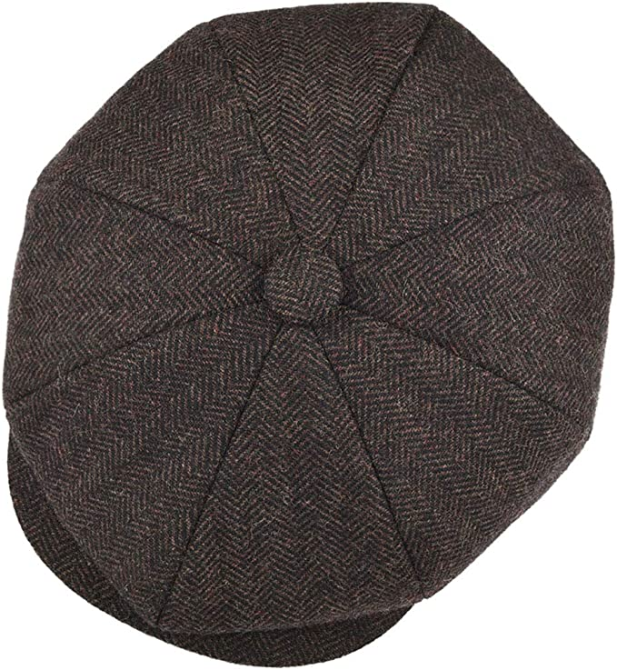 100/% Genuine Leather Newsboy Cap Sterkowski Malone Flat Cap for Men Vintage 8 Panel Gatsby Classic Flat Cap