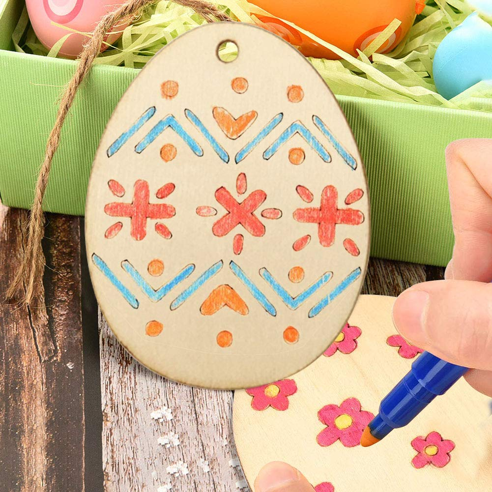 40PCS Wooden Easter Egg Tags, 4 Sizes Natural Unfinished Blank Wooden Slices Easter Eggs Flat Pendants with Jute Twine for Kids DIY Craft Project Home Decor Holiday Hanging Decor
