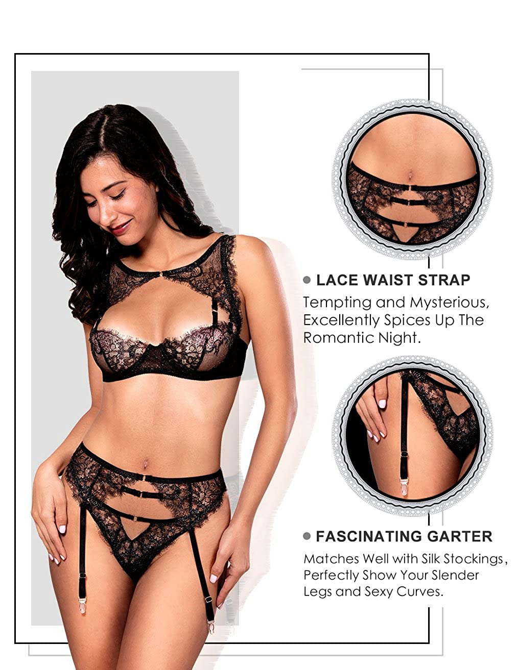 19792786e36c2 Amazon.com: Women Sexy Lace Lingerie Set, Lace Push Up Bra and G-String  Panty with Garter Belt 3 Piece Lingerie Set: Clothing