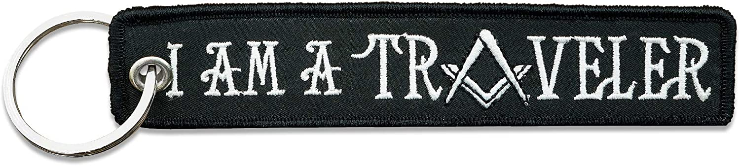 5 1//2 Wide x 1 1//8 Tall I Am a Traveler Masonic Embroidered Key Chain
