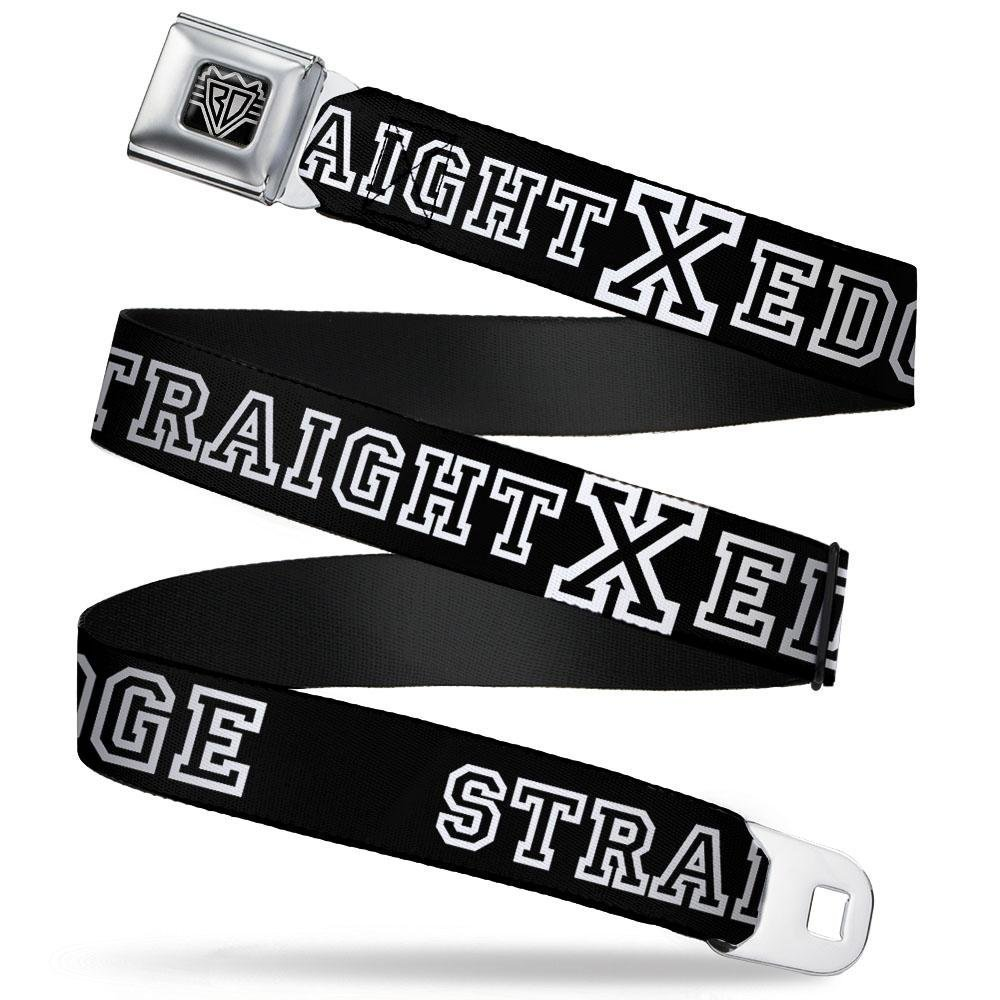 STRAIGHT EDGE Black//White 1.0 Wide 20-36 Inches in Length Buckle-Down Seatbelt Belt