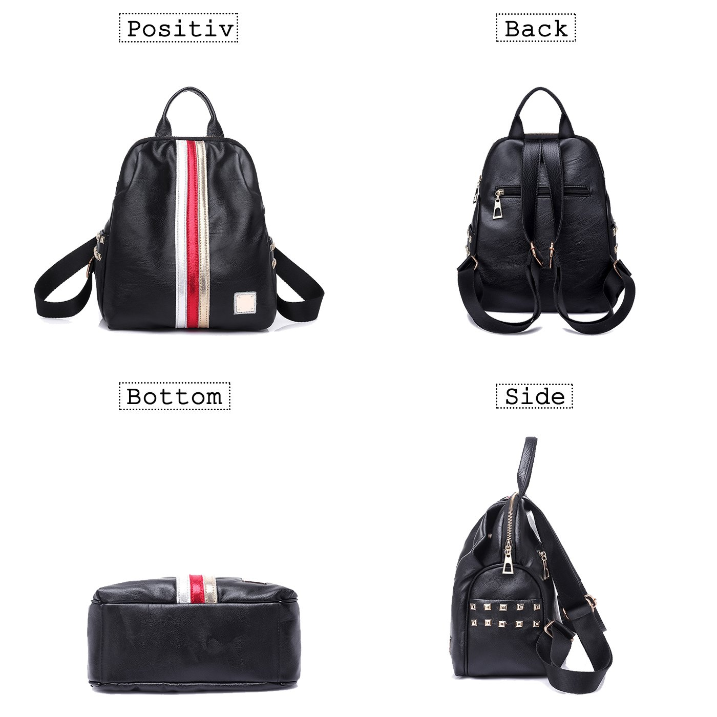 944073de425c Amazon.com: Coolives Girls Leather Black Small Travel Backpack Best ...
