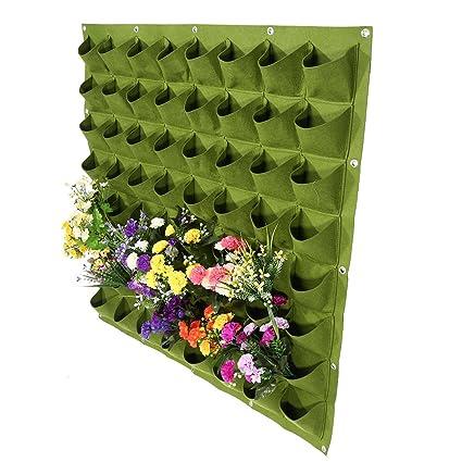 Zerodis 64 bolsillos de plantación vertical bolsa colgador de pared bolsas bolsas de cultivo de flores. Pasa ...