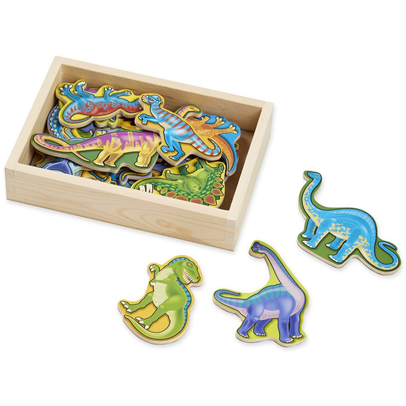 Melissa & Doug Dinosaur: Wooden Magnet Set + 1 Scratch Art Mini-Pad Bundle (#00476)