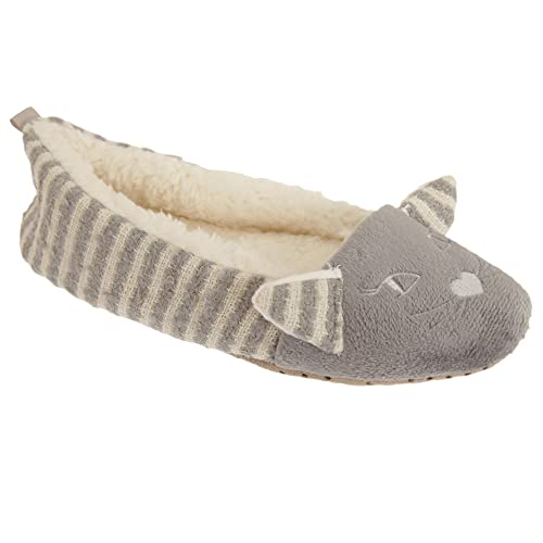 e47dea3c6 Amazon.com | Womens/Ladies Fleece Lined Cat Design Ballet Slippers |  Slippers