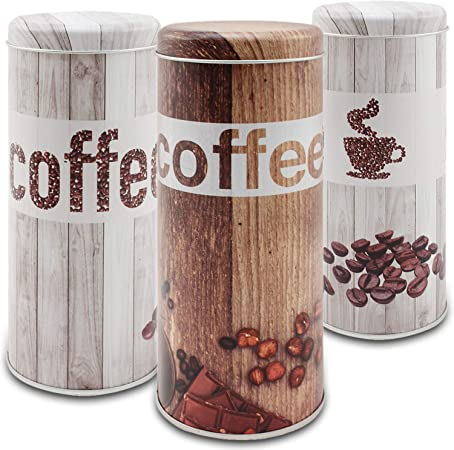 com-four® 3X cápsula de café - cápsula de café para cápsulas de café - cápsula de Almacenamiento para cápsulas de café - Caja Deco Vintage (3 Piezas - Conjunto Vintage): Amazon.es: Hogar