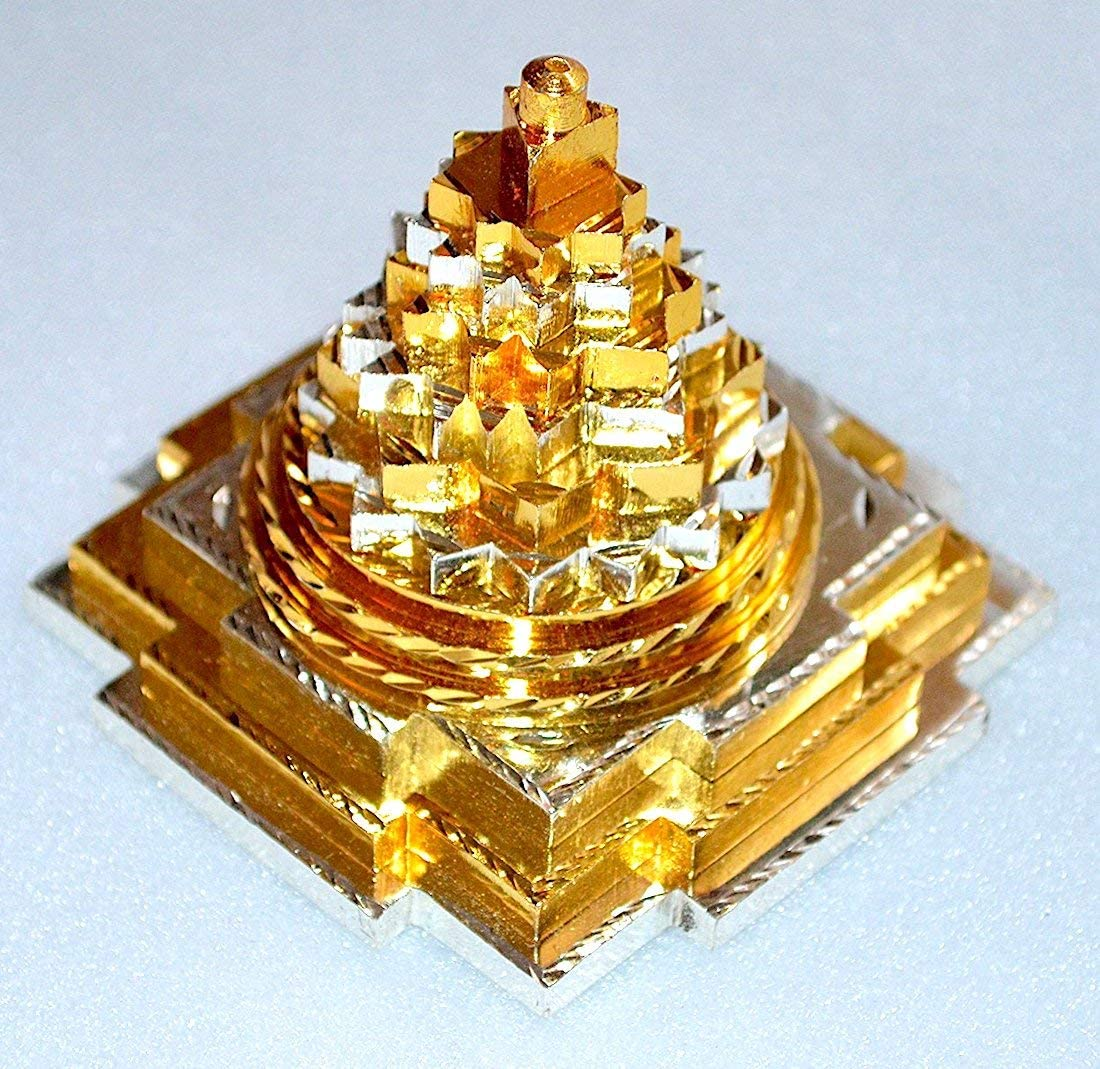 Sri Yantra, Shri Meru Yantra, Sri Chakra in Ashtadhatu Brass gold silver copper tone polish sizes 3 2 Inches – Spiritual powers Vaastu Dosh Prosperity Harmony 4 Inch Pure Brass 2 Tone