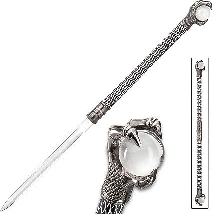K EXCLUSIVE Raven Klaw Twin Hidden Sword Set - 3Cr13 Stainless Steel Blade, Aluminum Handles, Crystal Balls - Length 30 1/4