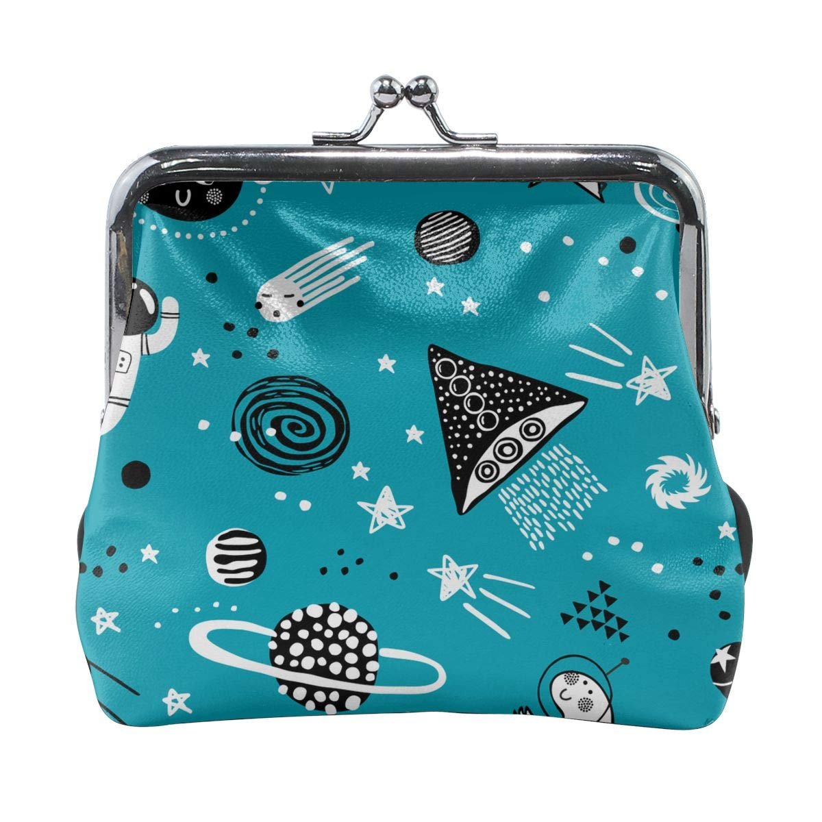 Planets Stars Astronaut And Spaceship Coin Purses Vintage Pouch Kiss-lock Change Purse Wallets
