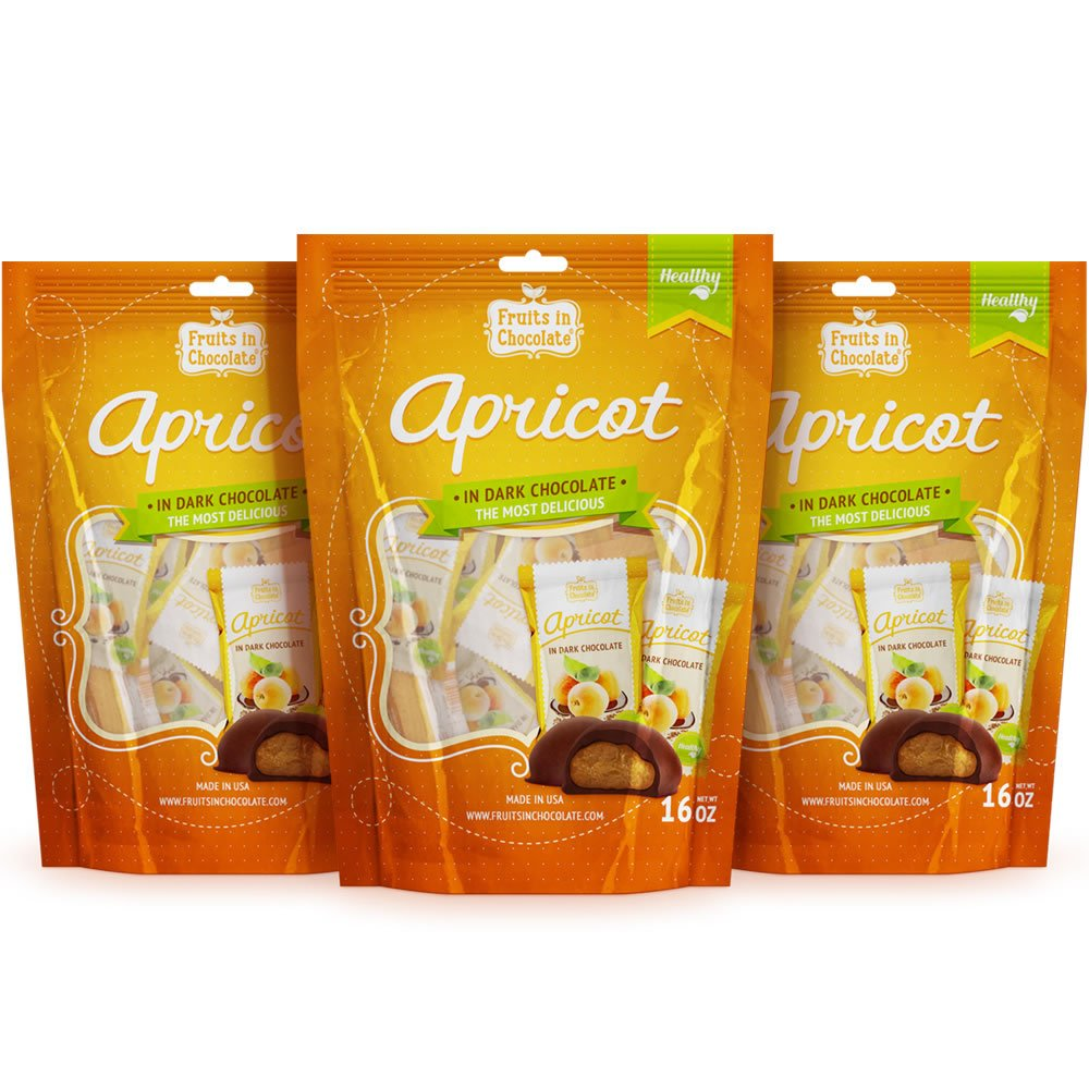Fruits in Chocolate Dark Chocolate Covered Apricots, 16 Oz Bag (Pack of 3)