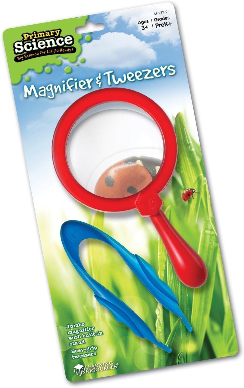 Learning Resources Magnifier & Tweezers, Fine Motor Toy, Easy Grip, Assorted Colors, Kids Magnifier, Kids Tweezers, Ages 3+