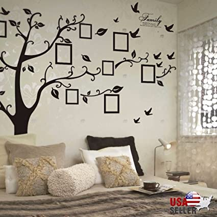 fb78db2da7 Family Tree Wall Decal Sticker Large Vinyl Photo Picture Frame Removable  Black