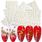 9 Sheets 3D Christmas Nail Art Decals Gold Self-Adhesive Nail Stickers Winter New Year Nail Art Decoration Santa Claus…