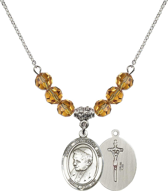 Bonyak Jewelry 18 Inch Rhodium Plated Necklace w// 6mm Yellow November Birth Month Stone Beads and Pope Emeritus Benedict XVI Charm