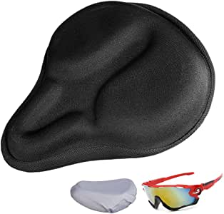 Dprofy Bike Seat Cushion Cover for Men, Gel Bicycle Seat Covers with Water Resistant Cover & Cycling Glasses(3 Pack)