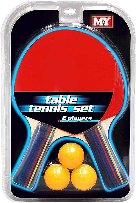 Juego de tenis de mesa para 2 jugadores con 2 bates y 3 pelotas de ping pong: Amazon.es: Deportes y aire libre