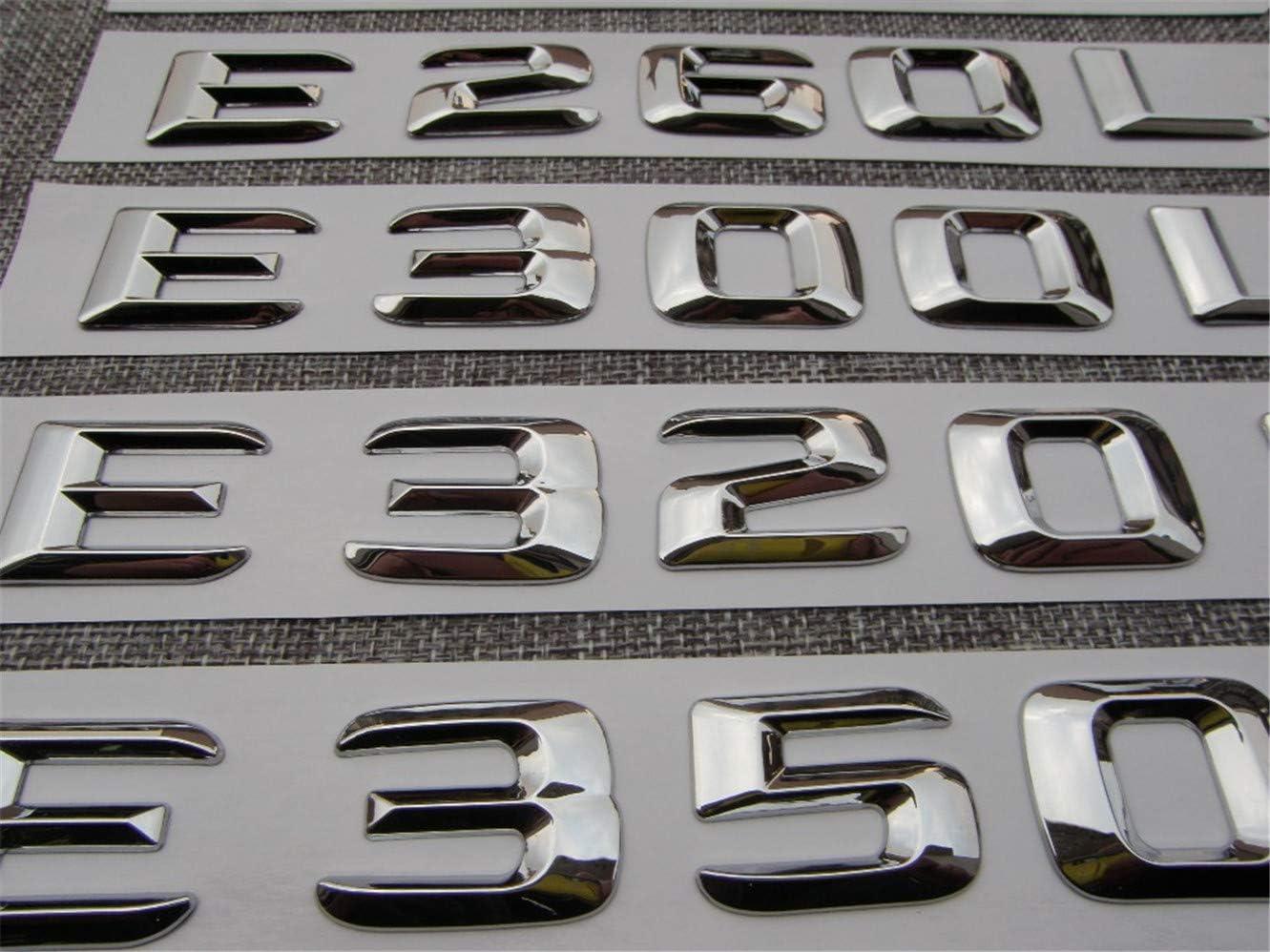 E500 Chrome Car Trunk Letters Badge Emblem Emblems E43 E55 E63 AMG E200 E250 E300 E320 E350 E400 E180 4MATIC CDI