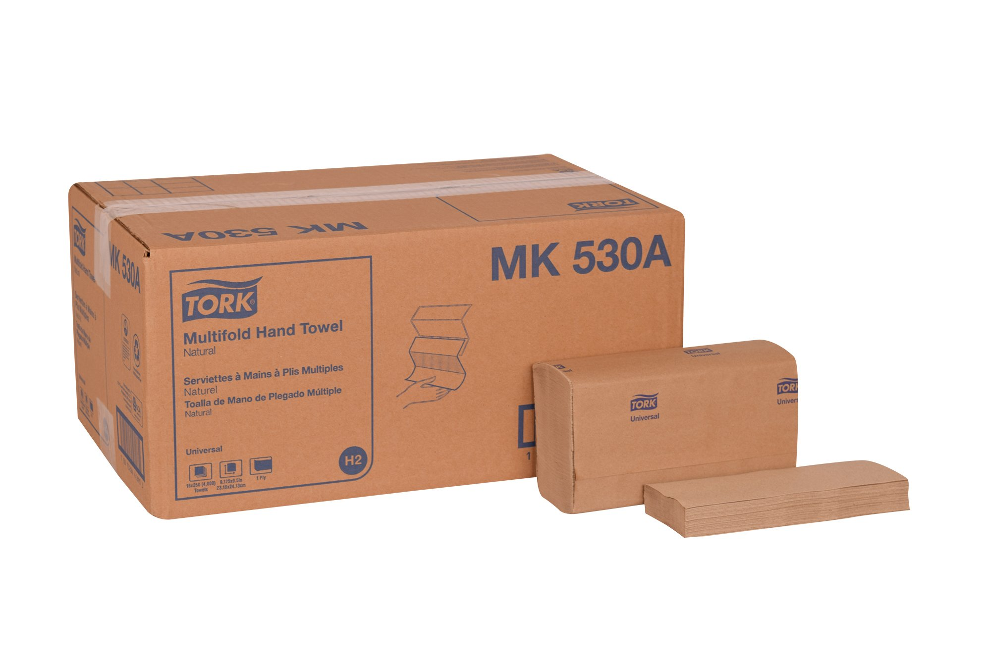 Tork Universal MK530A Multifold Paper Hand Towel, 1-Ply, 9.125'' Width x 9.5'' Length, Natural, (Case of 16 Packs, 250 per Pack, 4,000 Towels)