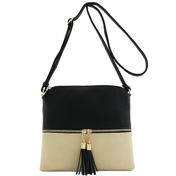 c142cdccb5b5 Lightweight Color-block Medium Crossbody Bag with Tassel (Black Nude)   Handbags  Amazon.com