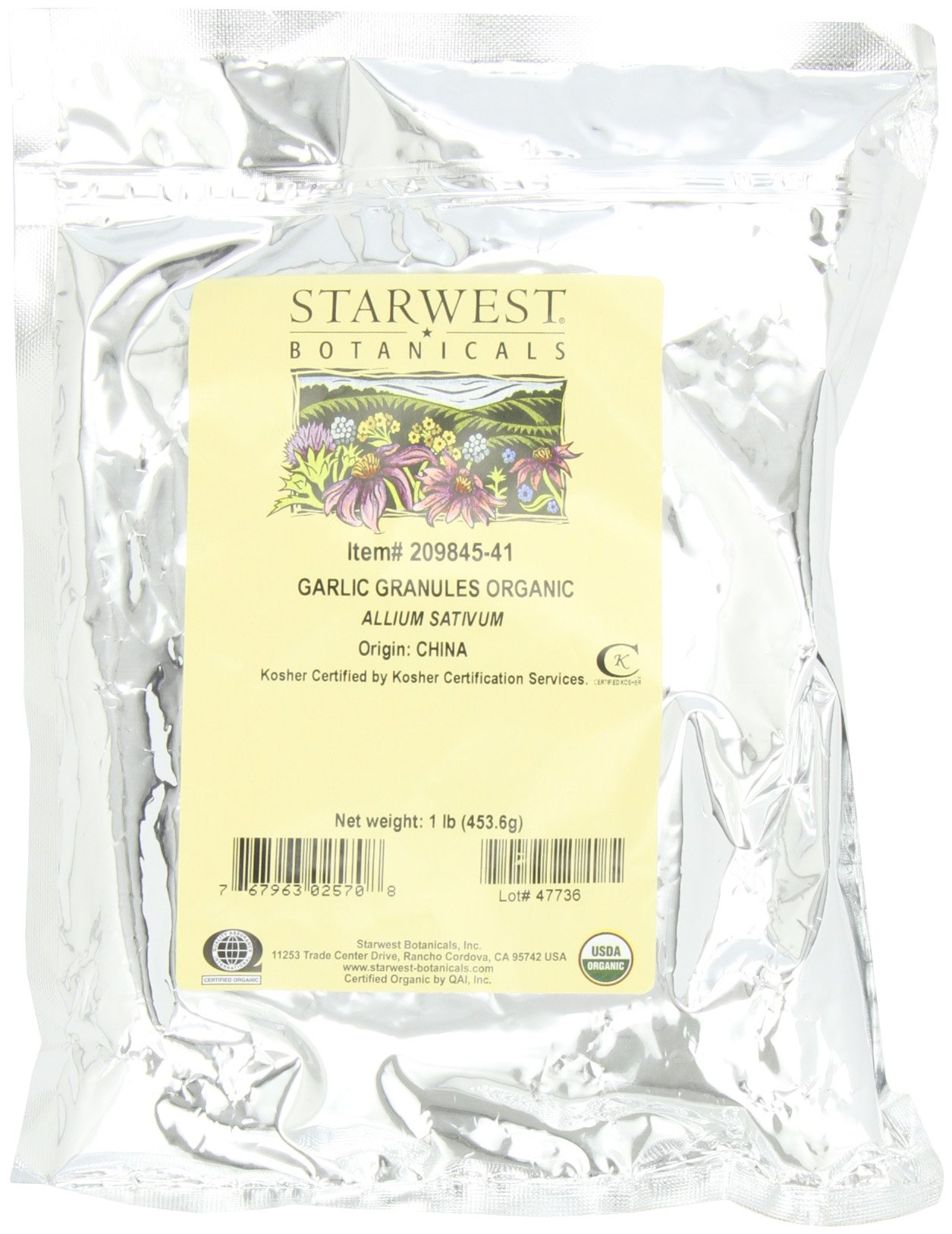 Starwest Botanicals Organic Garlic Granules, 1-pound Bags (Pack of 3)