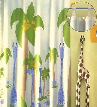 schöne kindergardine schlaufenschal safari deko kinderzimmer hxb ... - Deko Vorhang Kinderzimmer