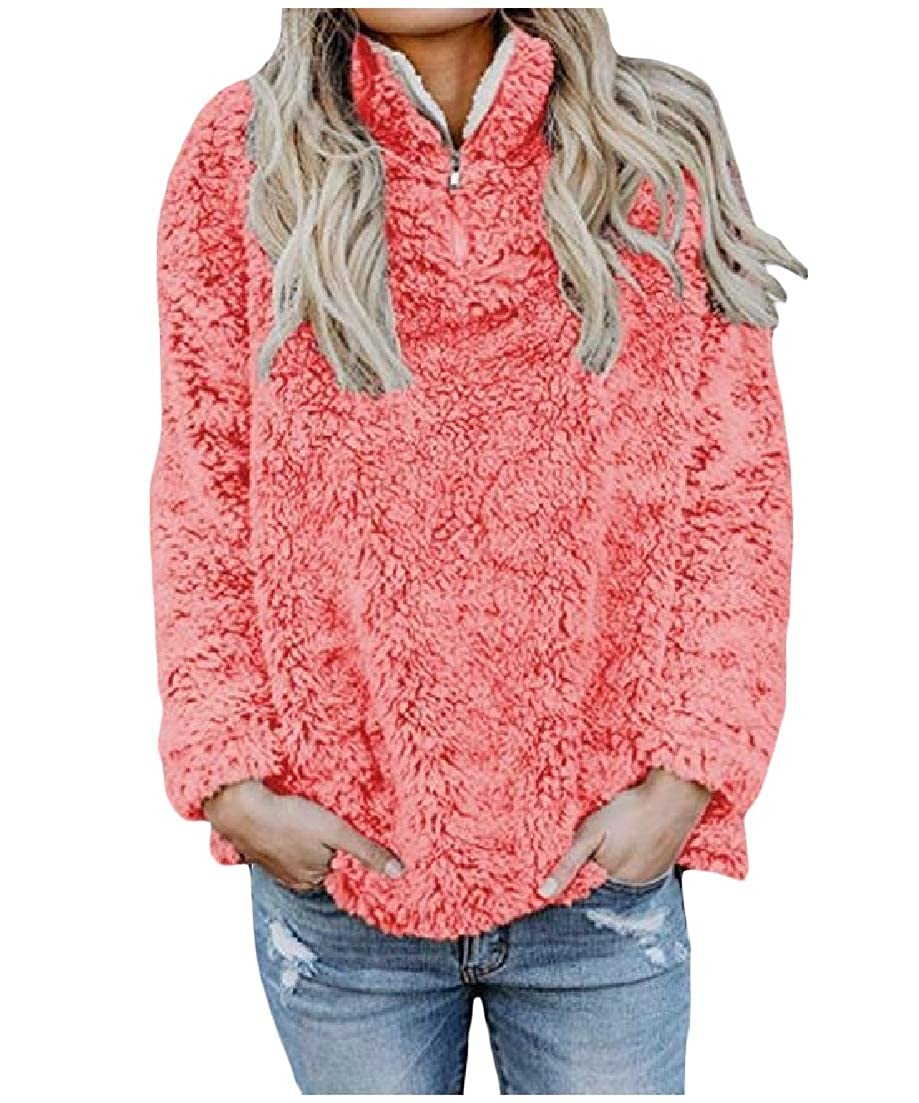 AngelSpace Women Pulover Zipper Thicken Long Sleeve Plush Blouses Tops