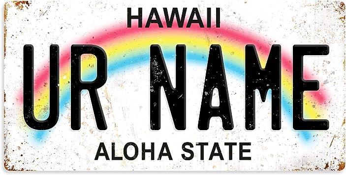Tamengi Metal Wall Sign Hawaii State Custom Personalised Number Plate Wall Art Decor