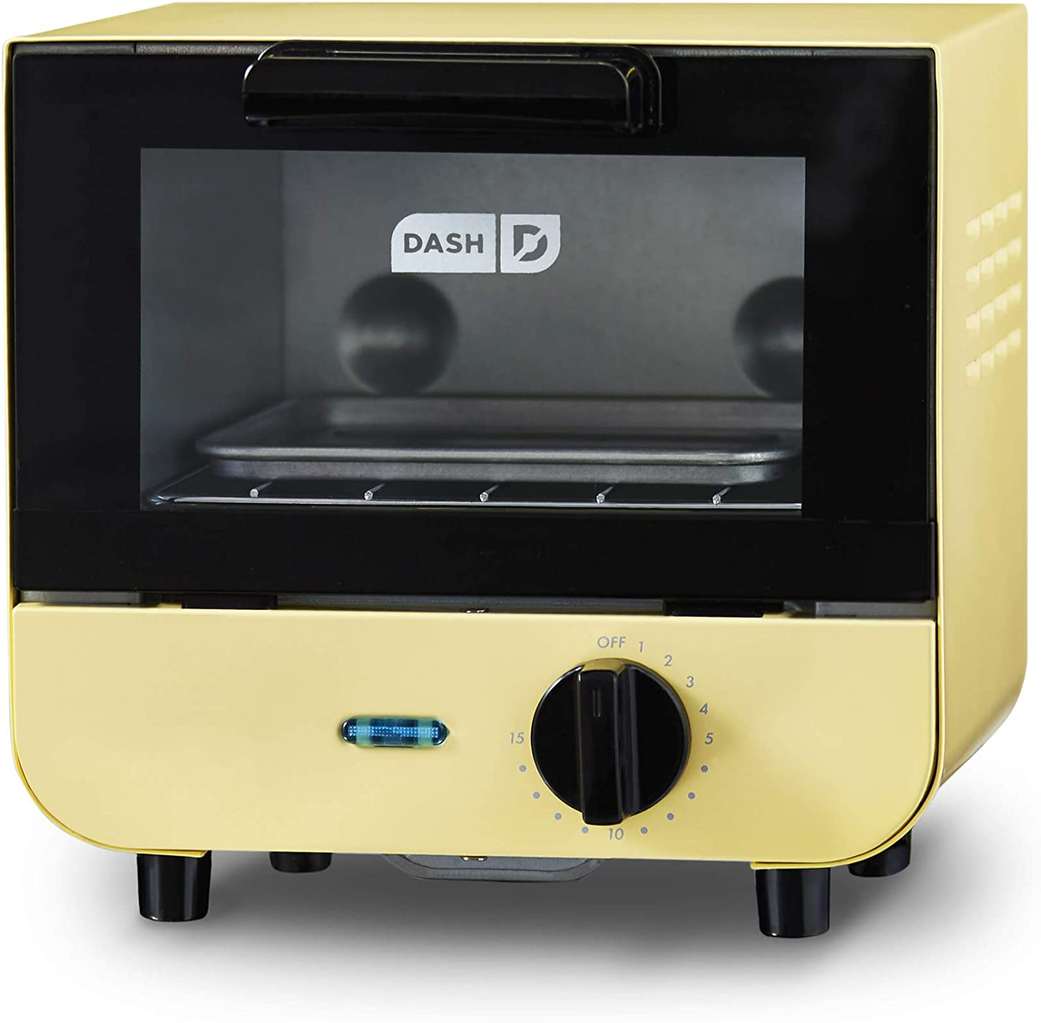 Dash DMTO100GBPY04 Mini Toaster Oven Cooker for for Bread, Bagels, Cookies, Pizza, Paninis & More with Baking Tray, Rack, Auto Shut Off Feature, Yellow (Renewed)