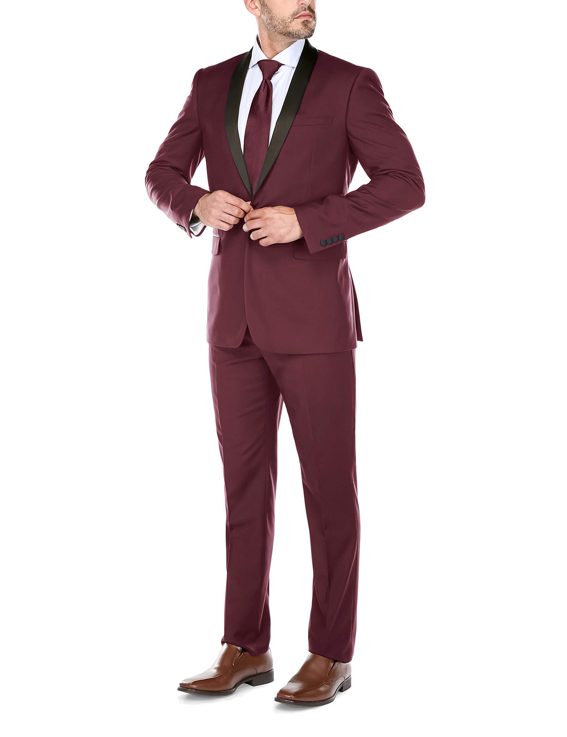CHAMA Men's Single Breasted Shawl Collar Tuxedo Slim Fit Suit (44 Regular /38 Waist, Burgundy) by CHAMA