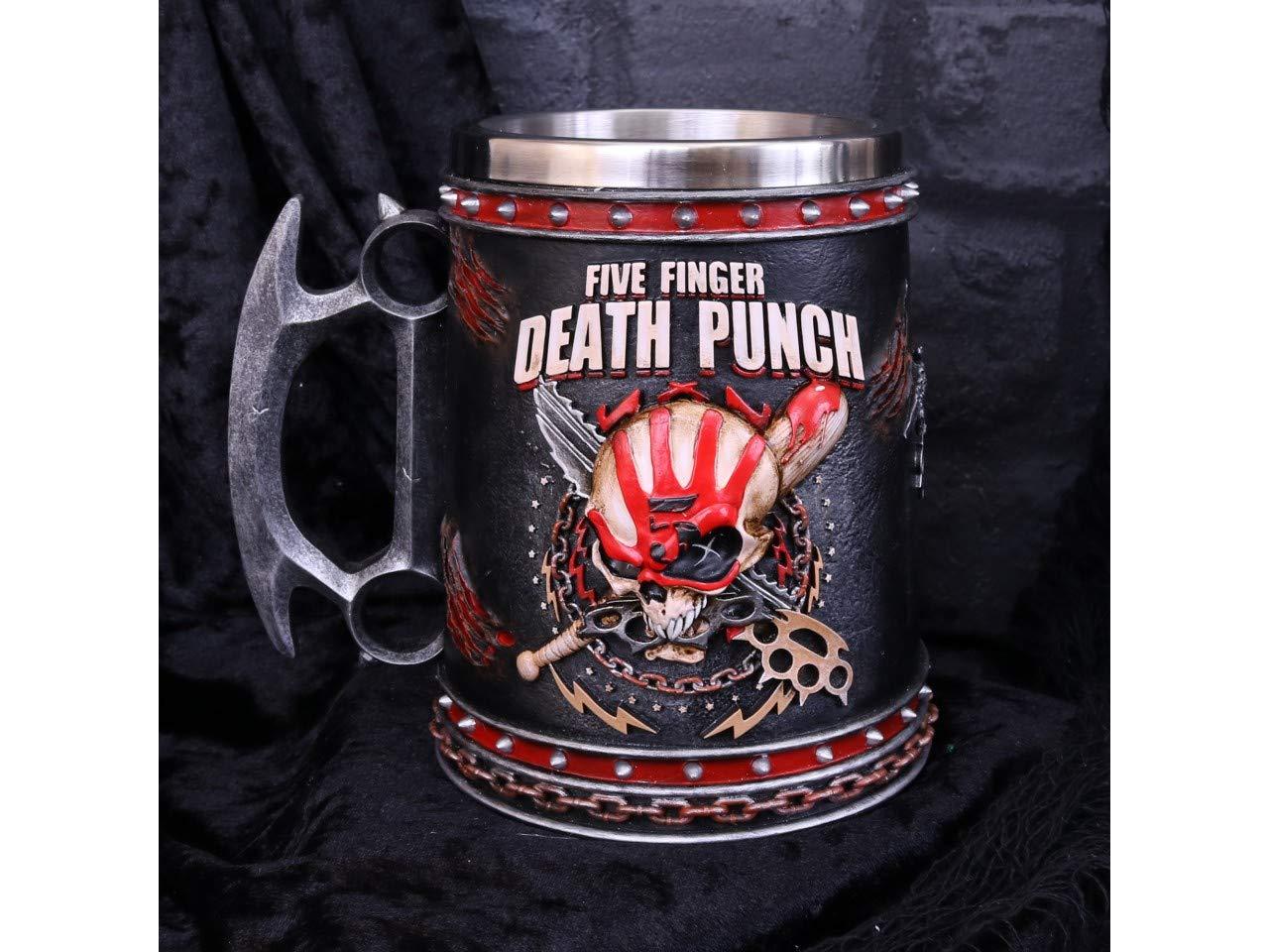 Boccale da 15 cm con Inserto in Acciaio Inox in Resina Colore: Nero Nemesis Now Five Finger Death Punch