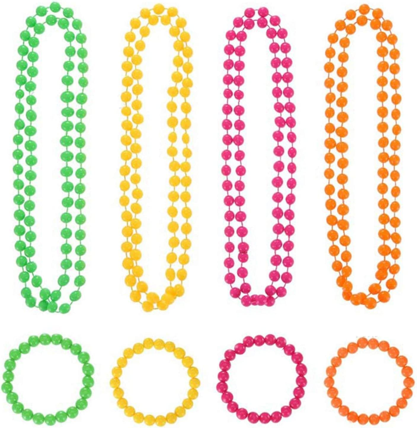 Set of 4 Beads 80s Neon Beaded Bracelets 80s Fancy Dress
