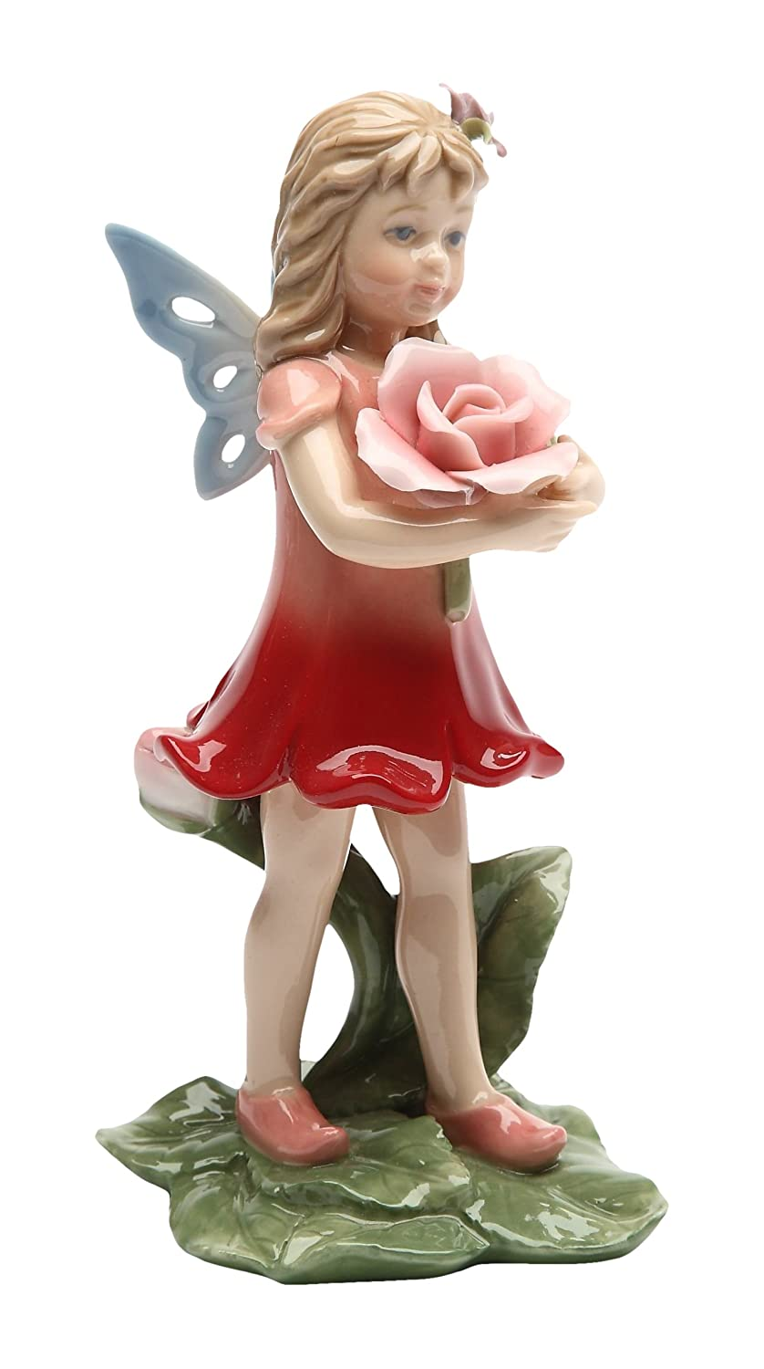 5.63 Inch Painted Fairy in Red Dress with Roses on Leaves Figurine StealStreet SS-CG-20822