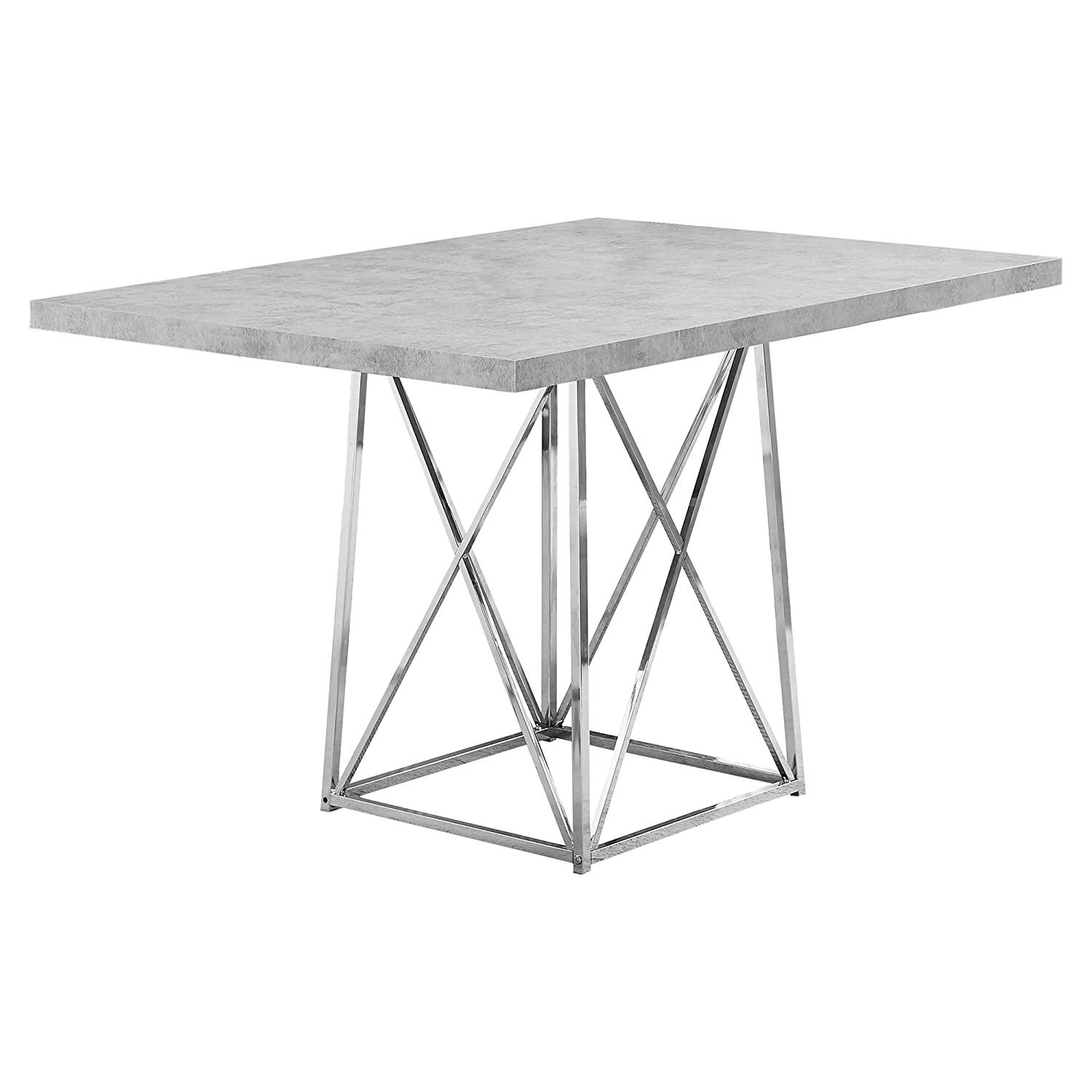 Monarch Specialties I Dining Table Metal Base, 36 x 48 , Grey Cement Chrome