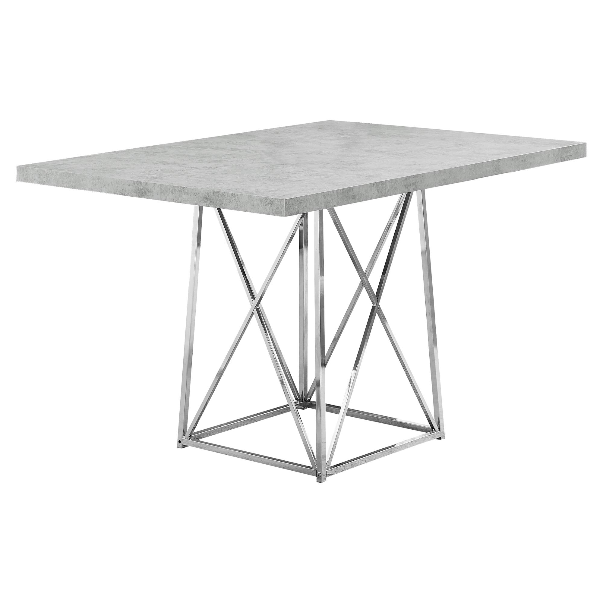 Monarch Specialties I I 1043 Dining Table Metal Base, 36'' x 48'', Grey Cement/Chrome by Monarch Specialties