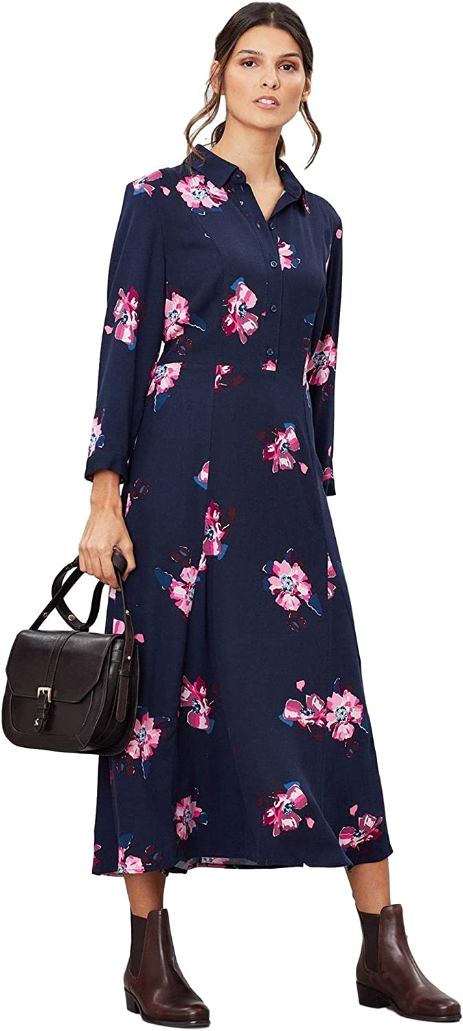 Navy Spaced Floral Joules Womens Carla Long Sleeve Shirt Dress