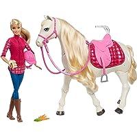 Barbie Dreamhorse poupée et son cheval de rêve interactif et motorisé, hennit, danse, doté de capteurs sensoriels, jouet pour enfant, FRV36