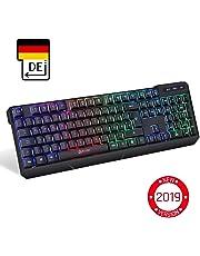 KLIM™ Chroma Wireless Gaming Tastatur - Gamer Keyboard LED Beleuchtete QWERTZ DEUTSCH - Hohe Leistung - Bunte Beleuchtung RGB - PC, Mac, Laptop, PS4, Xbox One X - 2019 Version - Schwarz