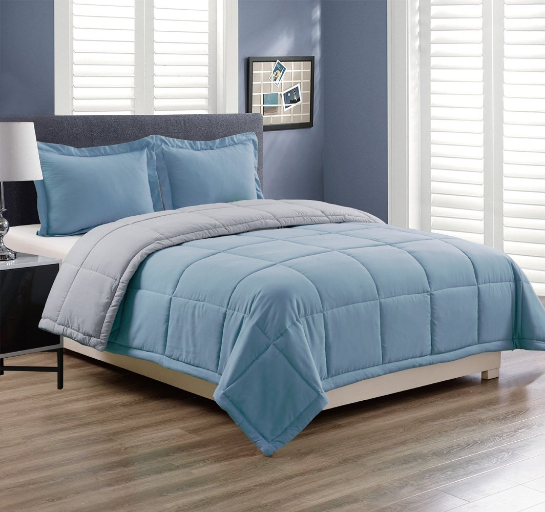 3 piece Luxury Spa Blue / Grey Reversible Goose Down Alternative Comforter set, Full / Queen with Corner Tab Duvet Insert