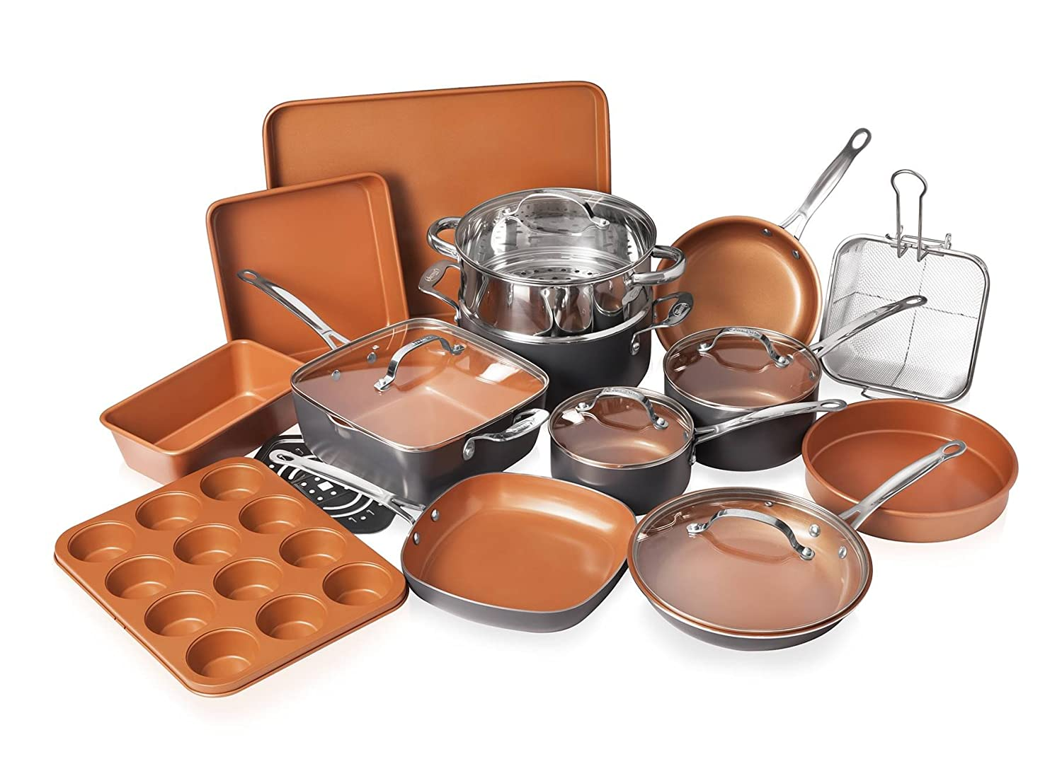 Gotham Steel 20 Piece All in One Kitchen Cookware + Bakeware Set with Non-Stick Ti-Cerama Copper Coating – Includes Skillets, Stock Pots, Deep Square Pan with Fry Basket, Cookie Sheet and Baking Pans 1922
