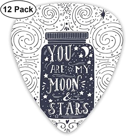 Guitar Picks 12-Pack,Backdrop With Curl And Stars Vintage Doodle ...