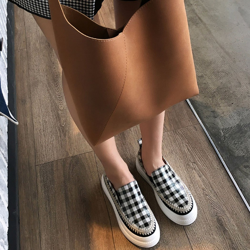 LOHU Frauen Schuhe Runde Kopf Flache Freizeitschuhe Mode Gitter Dicke Dicke Gitter Bottom Loafers Bequeme Outdoor Freizeitschuhe Schwarz Rot bd9578